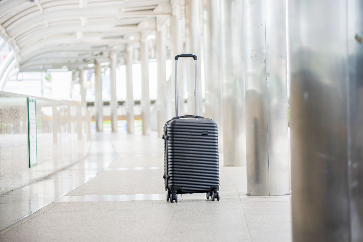 Luggage bag alone in an airport